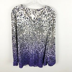 Chicos Animal Print Ombre Blouse Button Up XL
